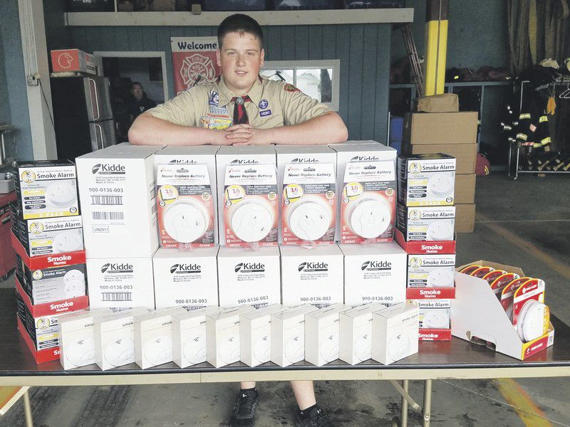 Eagle Scout hopeful gives away dozens of smoke detectors