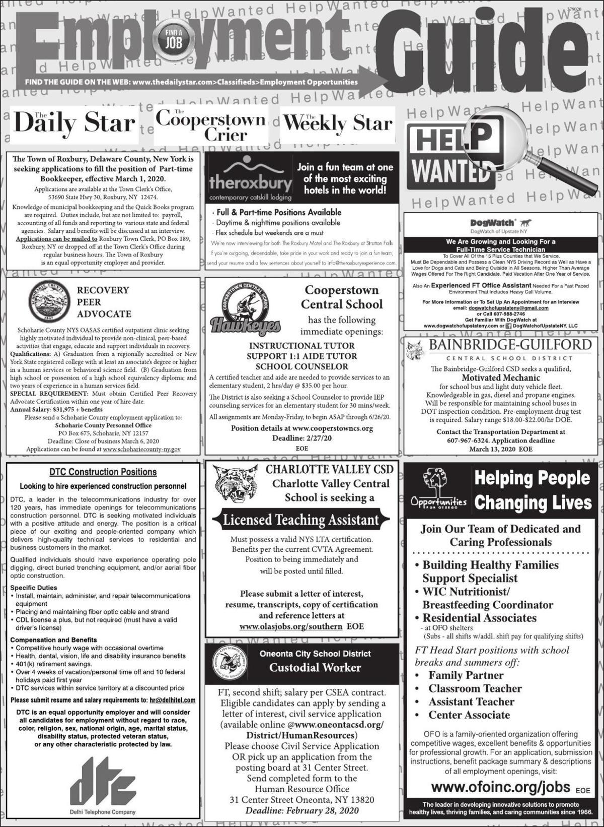 Employment Opportunities - 2/22/2020