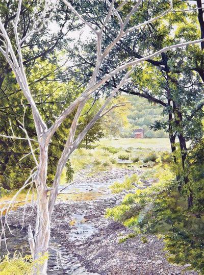 Catskills watercolor painter plansFacebook Live art showfrom MURAL