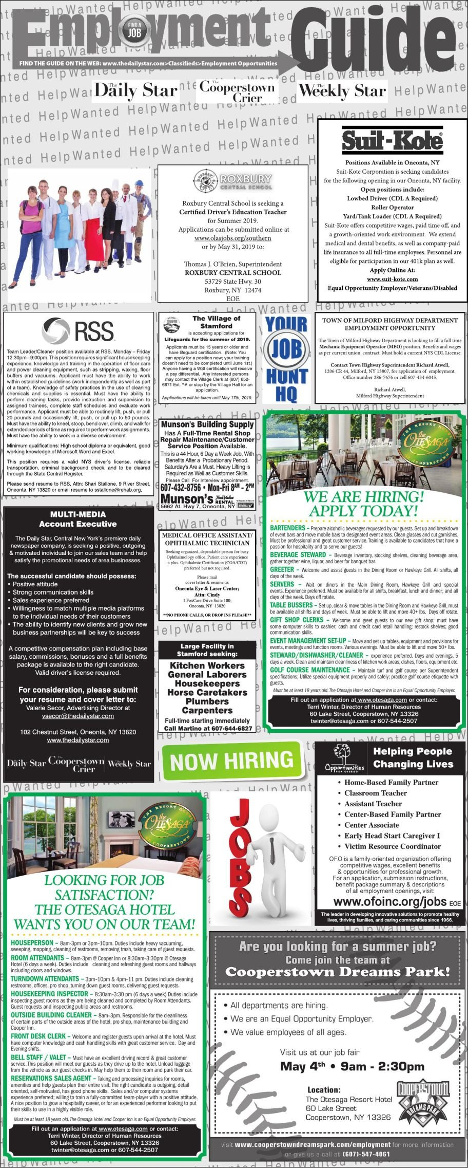Employment Opportunities 4/27/2019