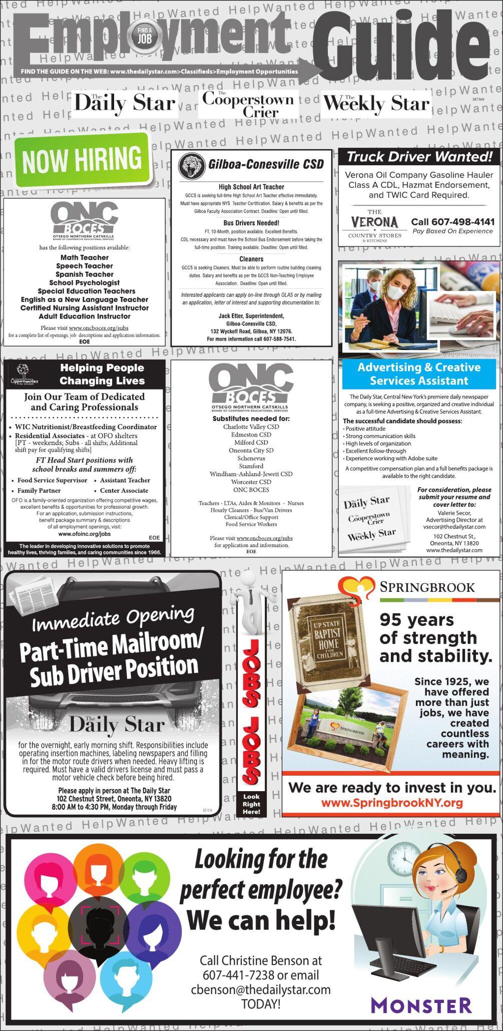 Employment Opportunities - 12/5/2020