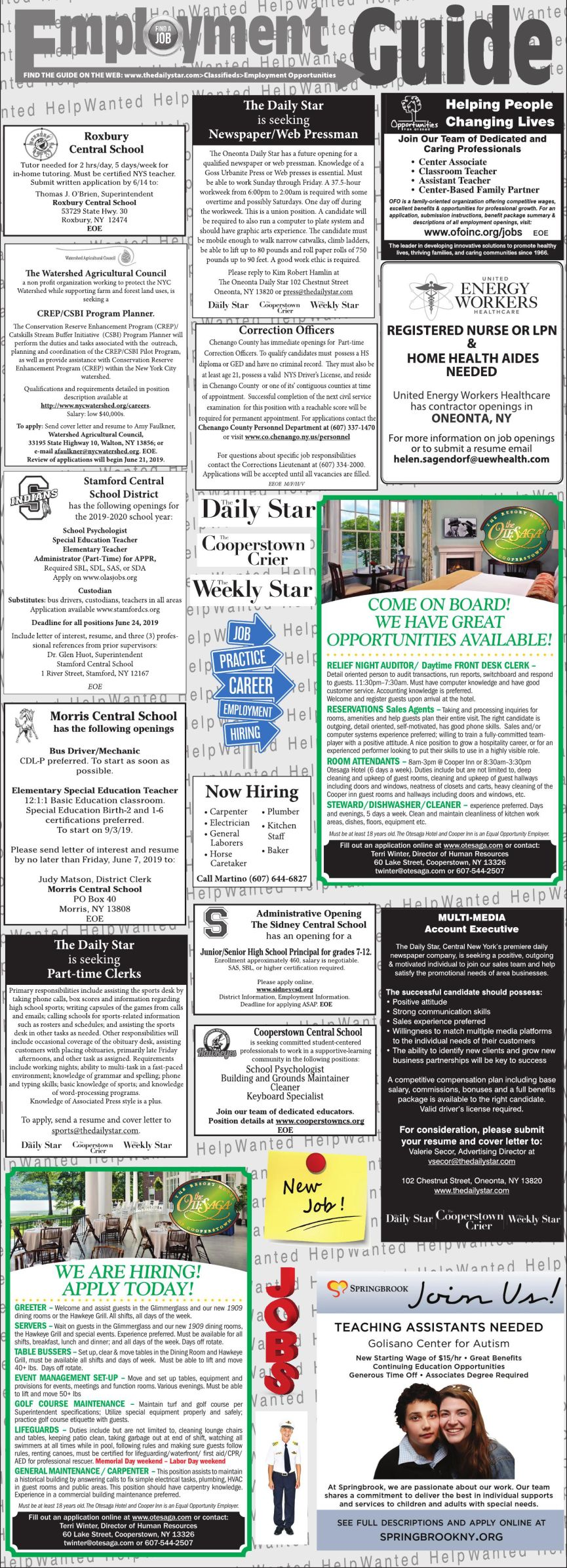 Employment Opportunities 6/1/2019