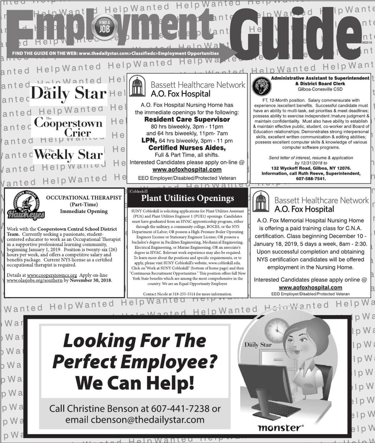 Employment Opportunities 11/24/2018