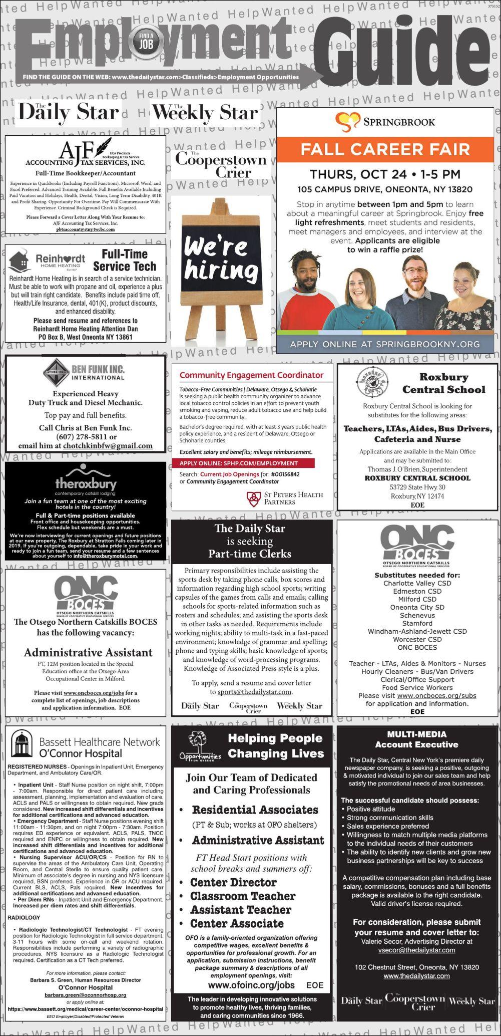 Employment Opportunities 10/12/2019