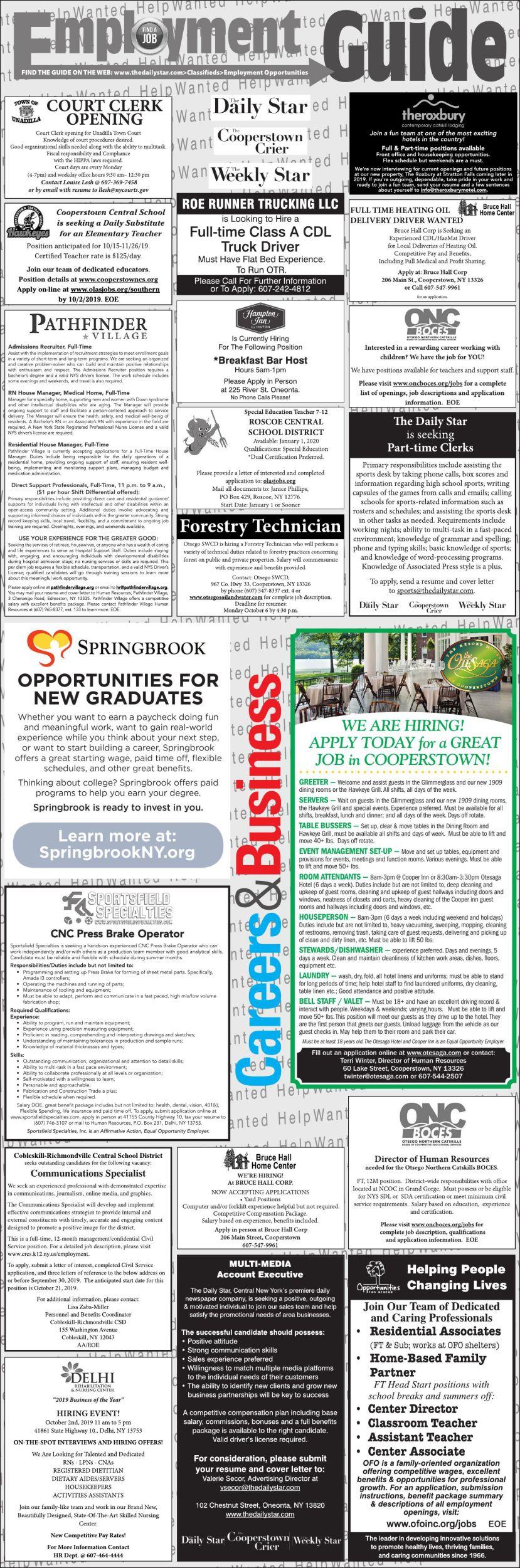 Employment Opportunities 9/21/2019