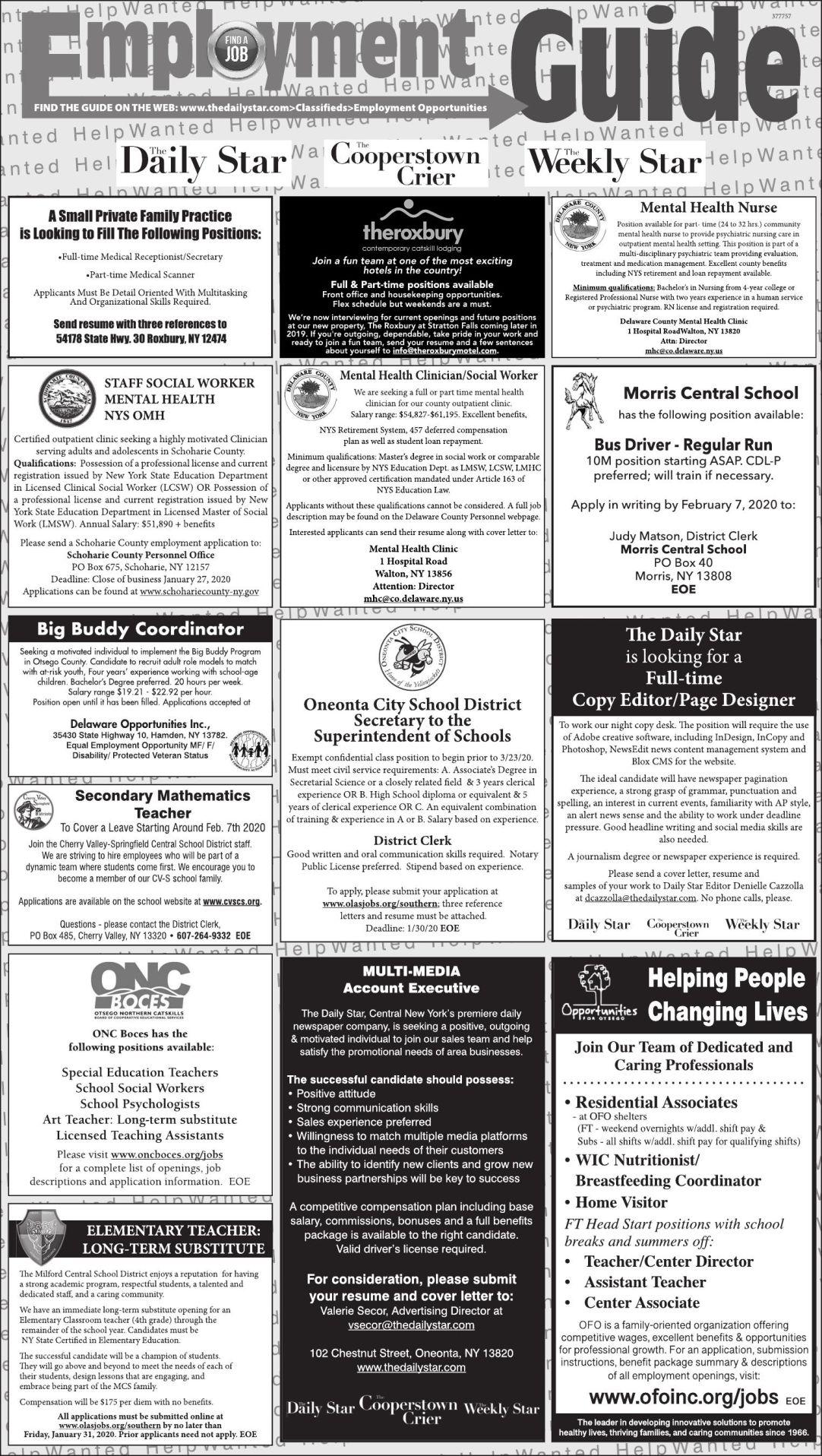 Employment Opportunities - 1/25/2020
