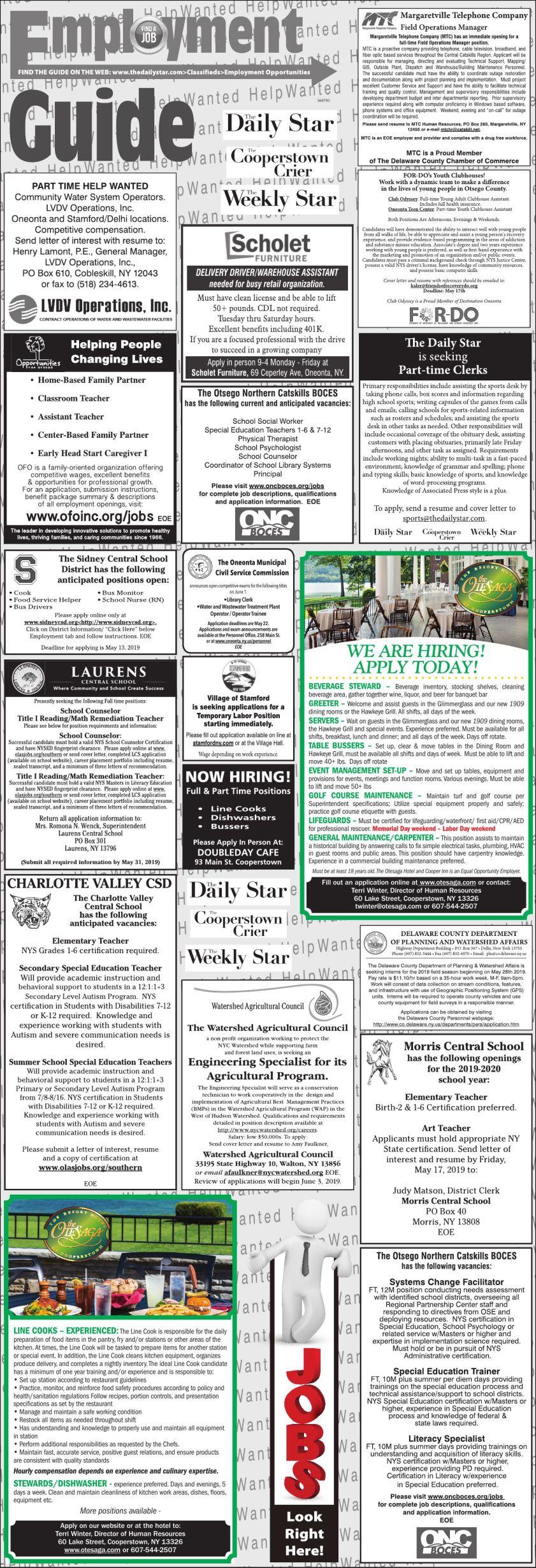 Employment Opportunities 5/11/19