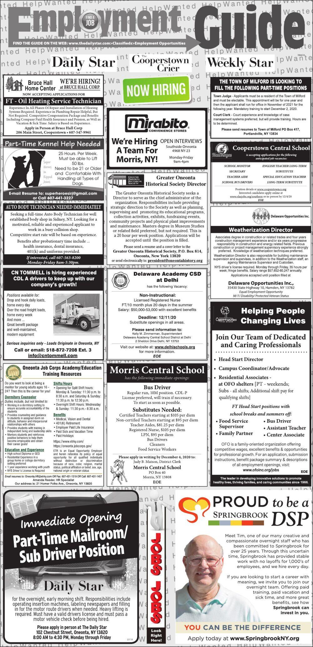 Employment Opportunities - 11/21/2020