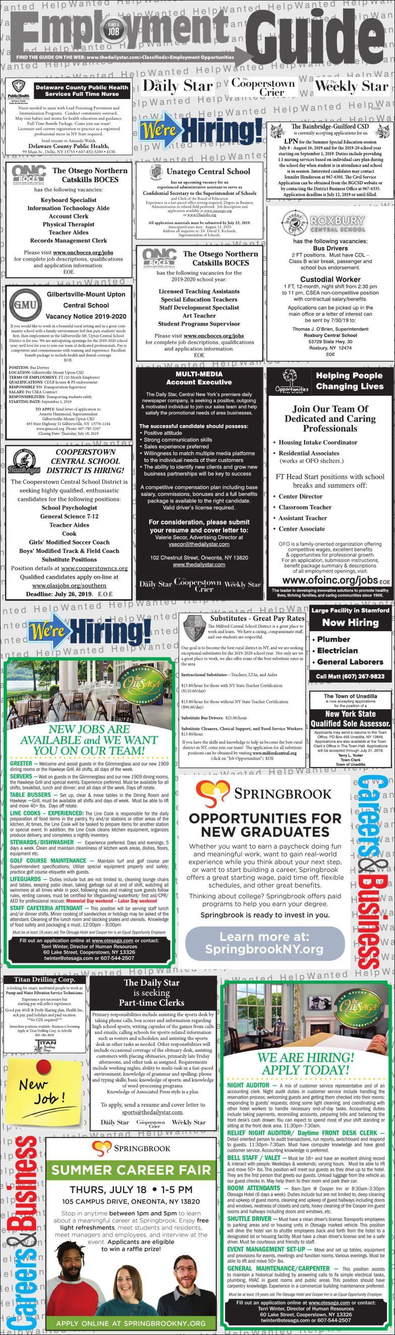Employment Opportunities 7/13/19