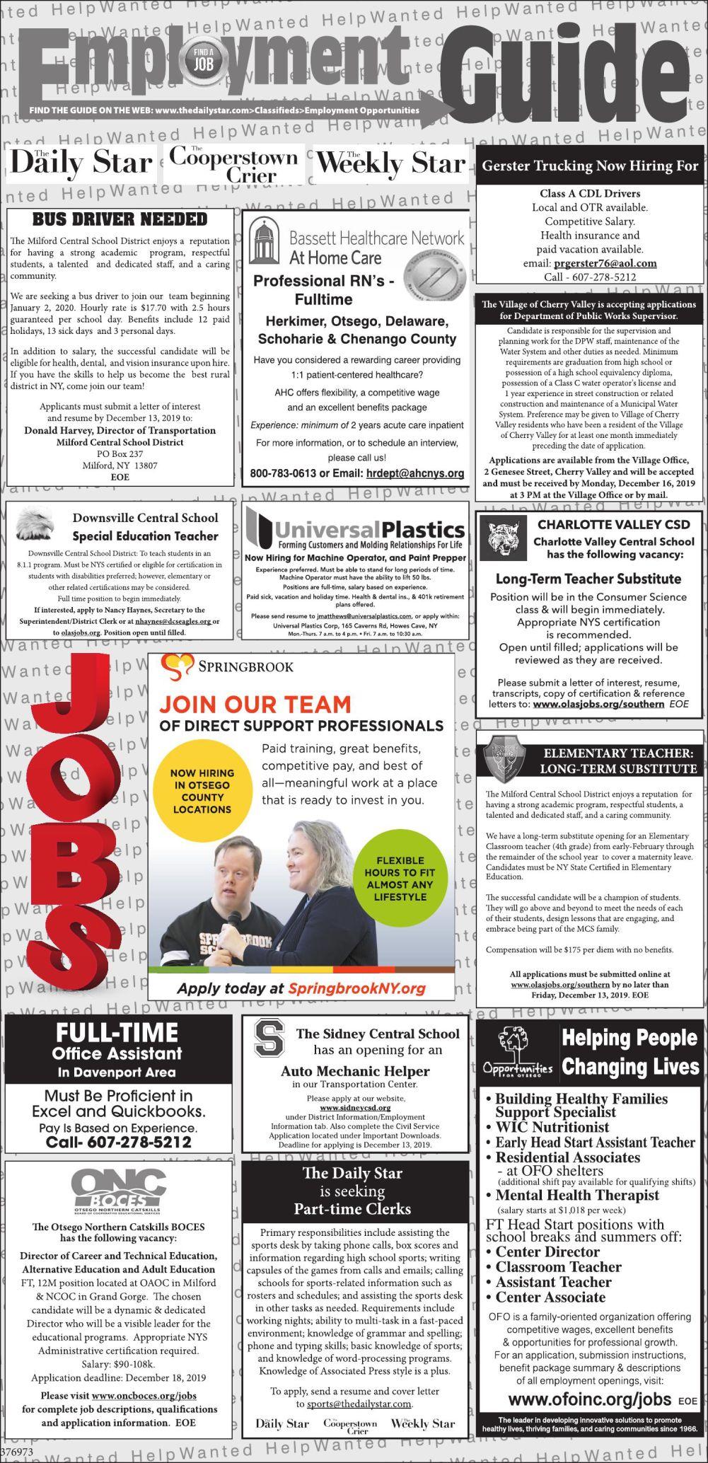 Employment Opportunities 12/7/2019