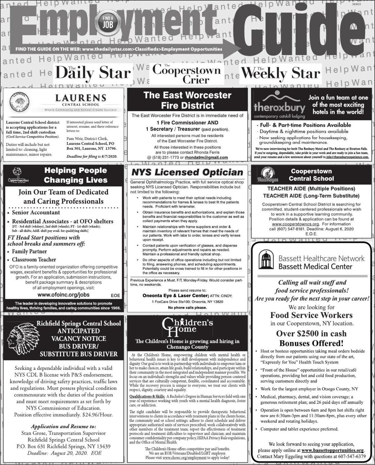 Employment Opportunities - 7/25/2020