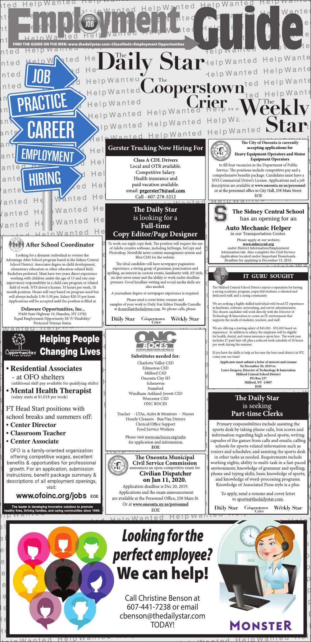 Employment Opportunities - 12/14/2019