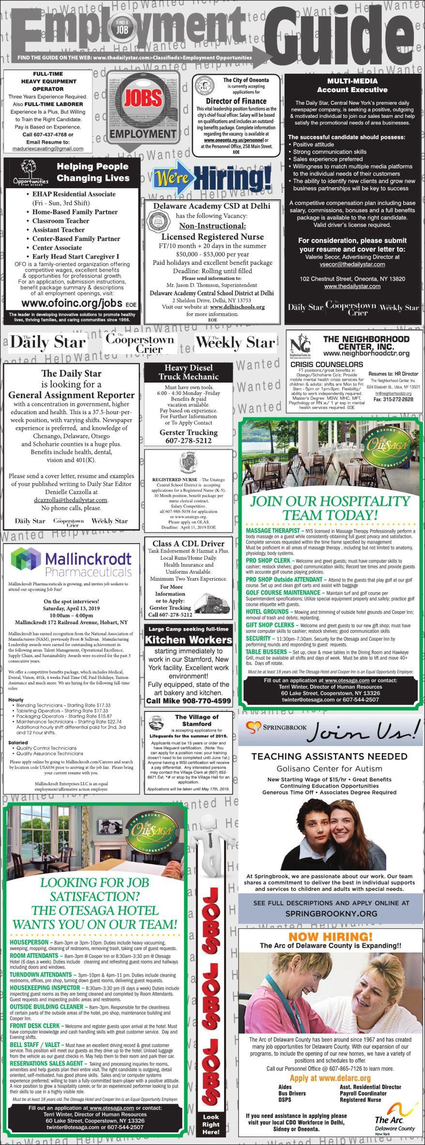 Employment Opportunities 4/6/2019