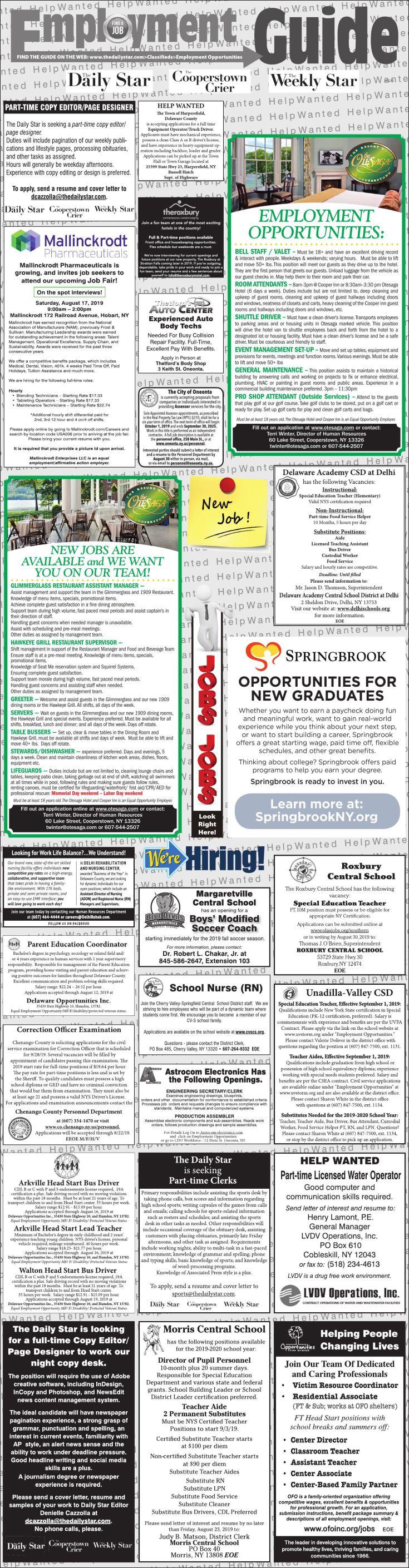 Employment Opportunities 8/10/19