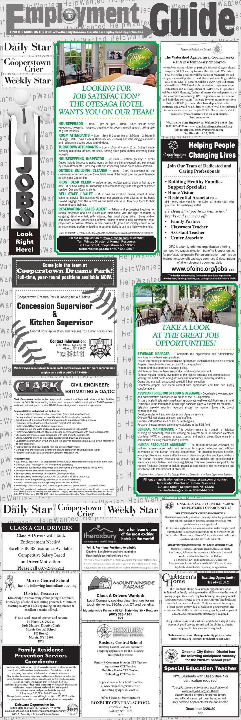 Employment Opportunities - 3/7/2020
