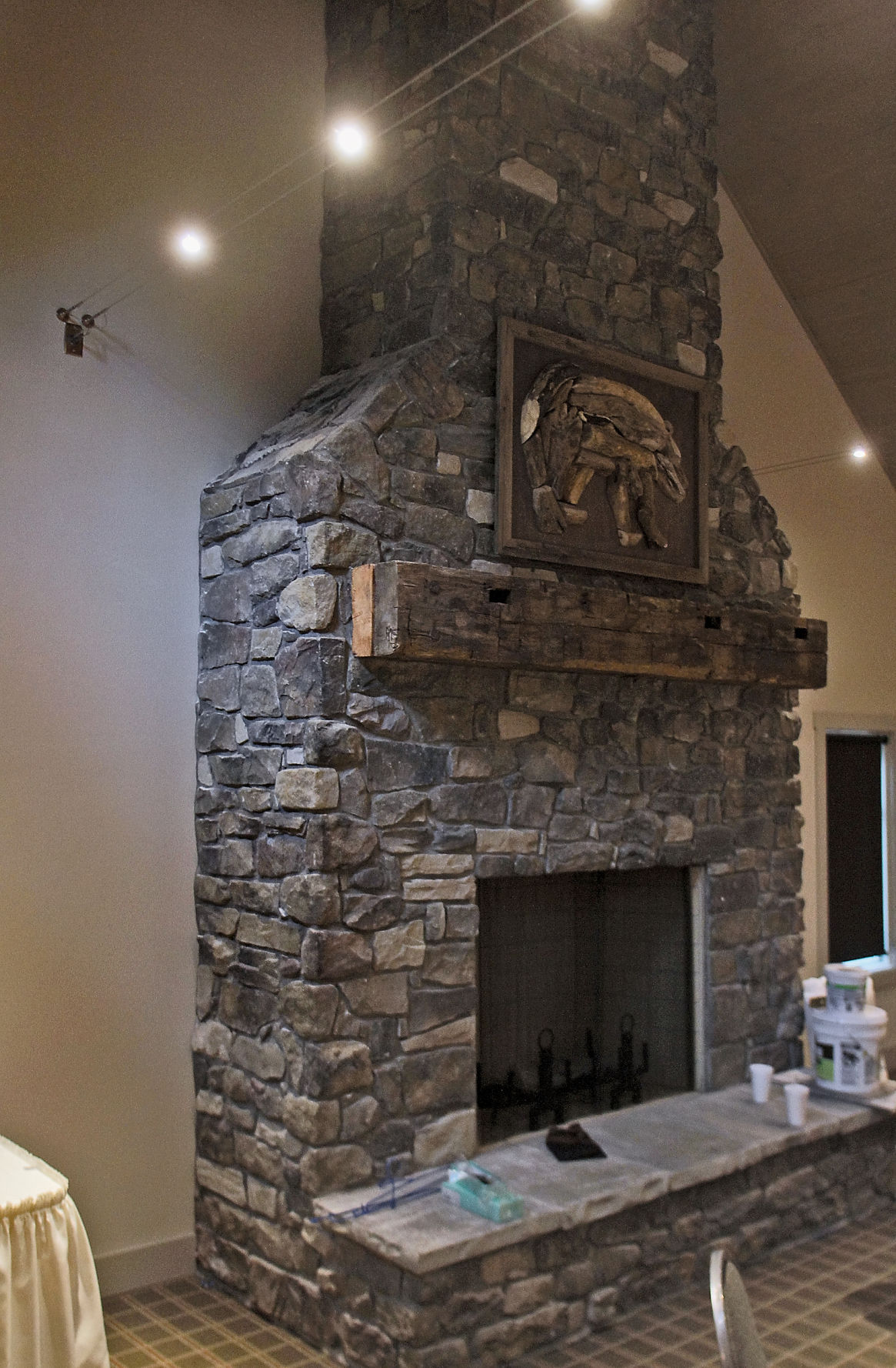 Fireplace highlights dining room at Dancing Bear Appalachian Bistro