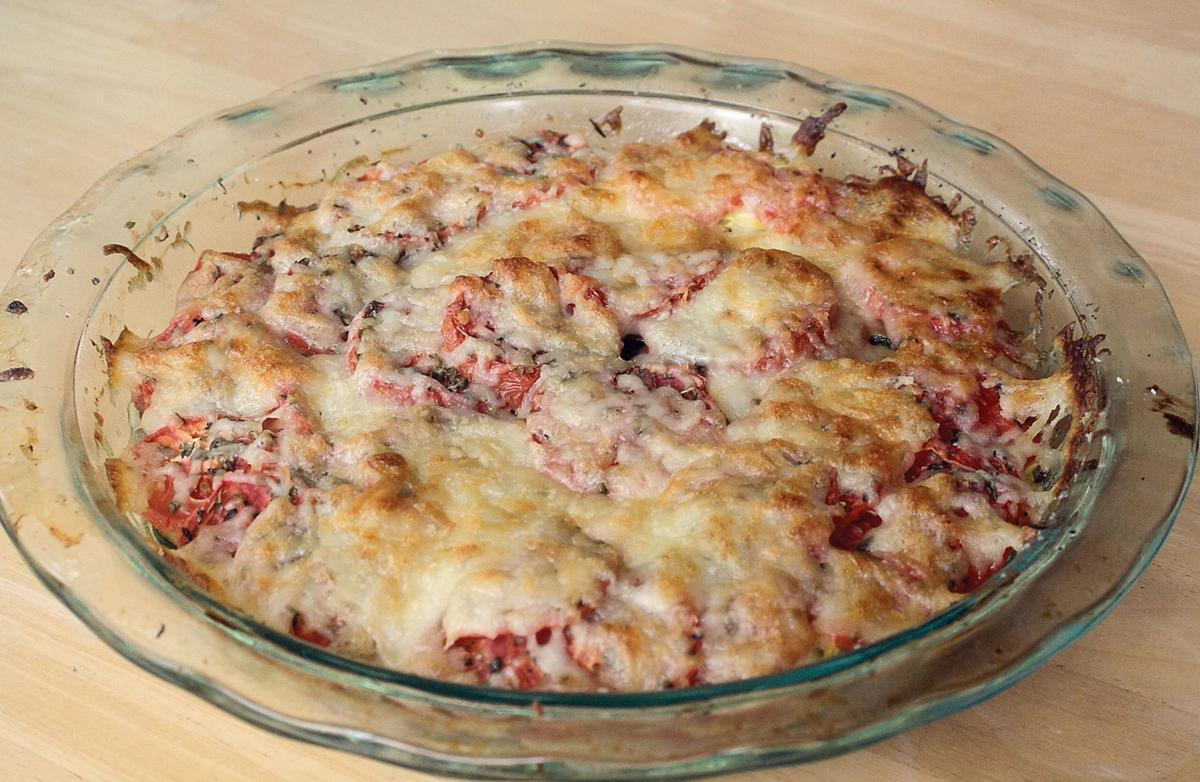 Squash, tomato, and potato pie