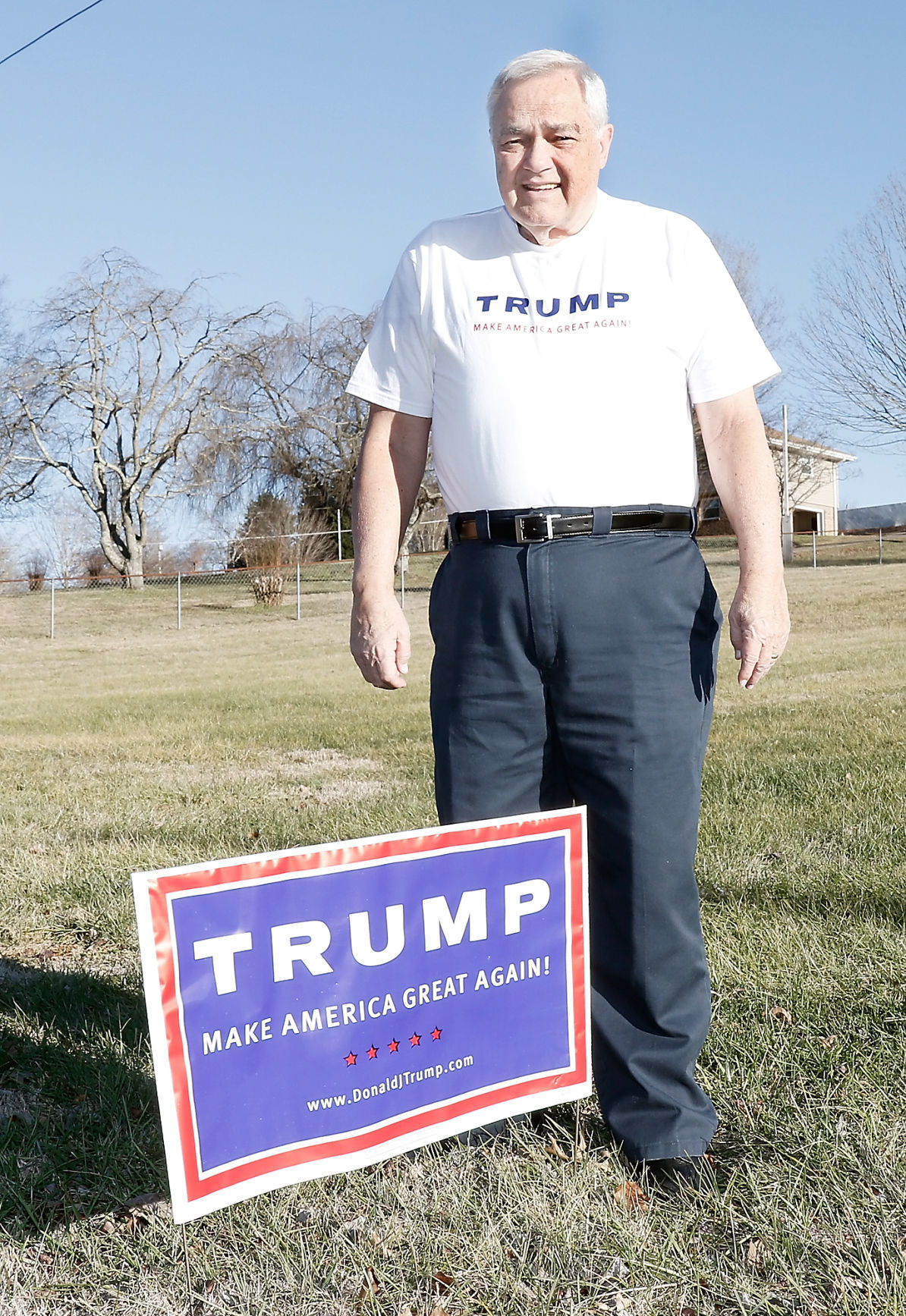 Joe McCulley with Trump Sign in his Front Yard