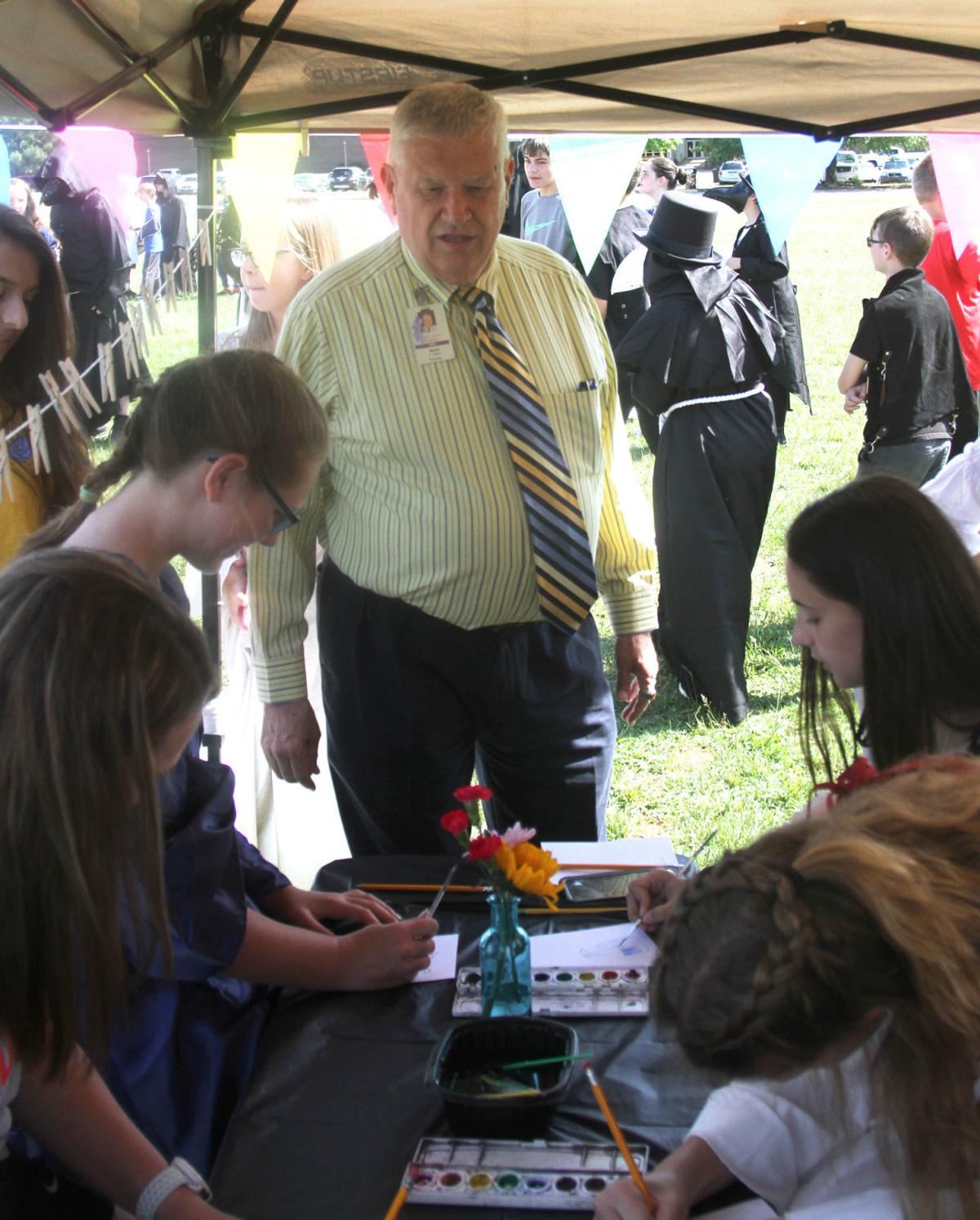 Principal Steve Moser at Heritage Middle School Renaissance Fair