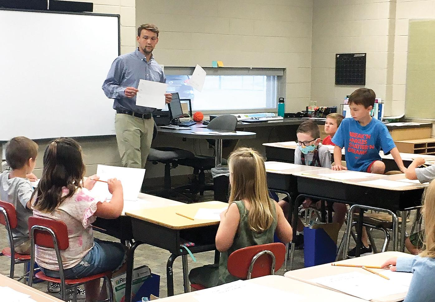 Carpenters Elementary School second graders on first day of school