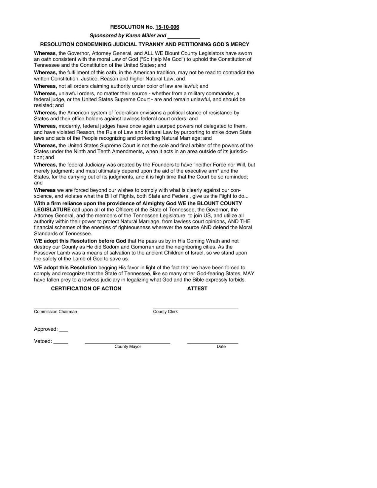 Karen Miller resolution petitioning God's mercy