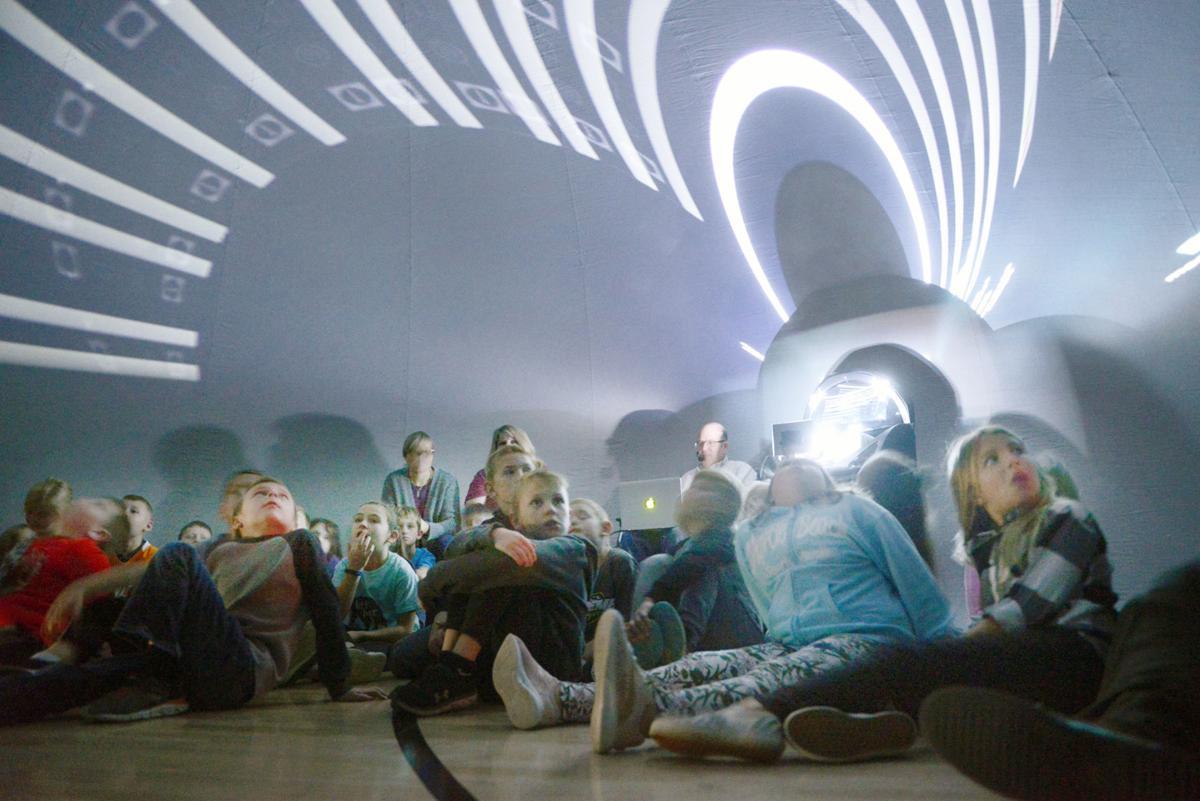 Greenback School students experience portable planetarium