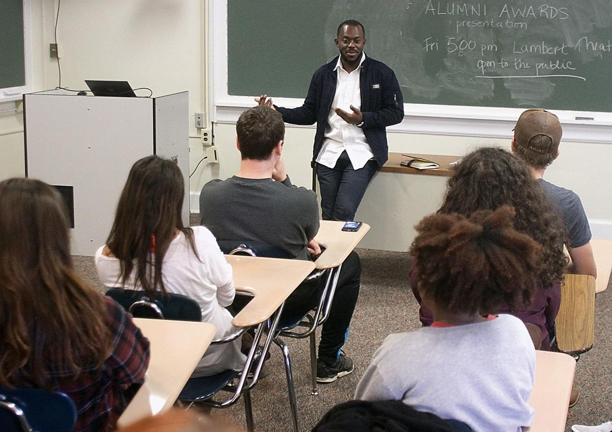 Frank Twum-Barimah talks to students at Maryville College