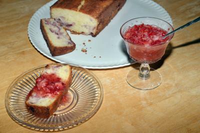 Strawberry cake with fresh strawberry glaze
