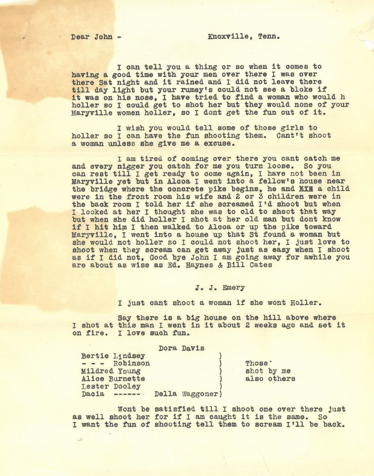 Copy of letter allegedly from 'Night Marauder' to Blount County sheriff