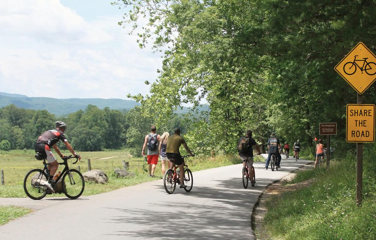 Bicyclists start the ride around the Cades Cove Loop Road