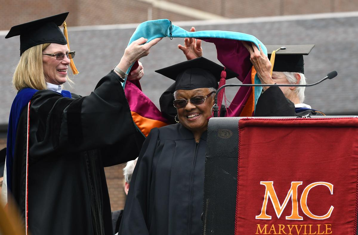 Barbara Wells and Mary Kay Sullivan present honorary degree to Shirley Carr Clowney at Maryville College Commencement