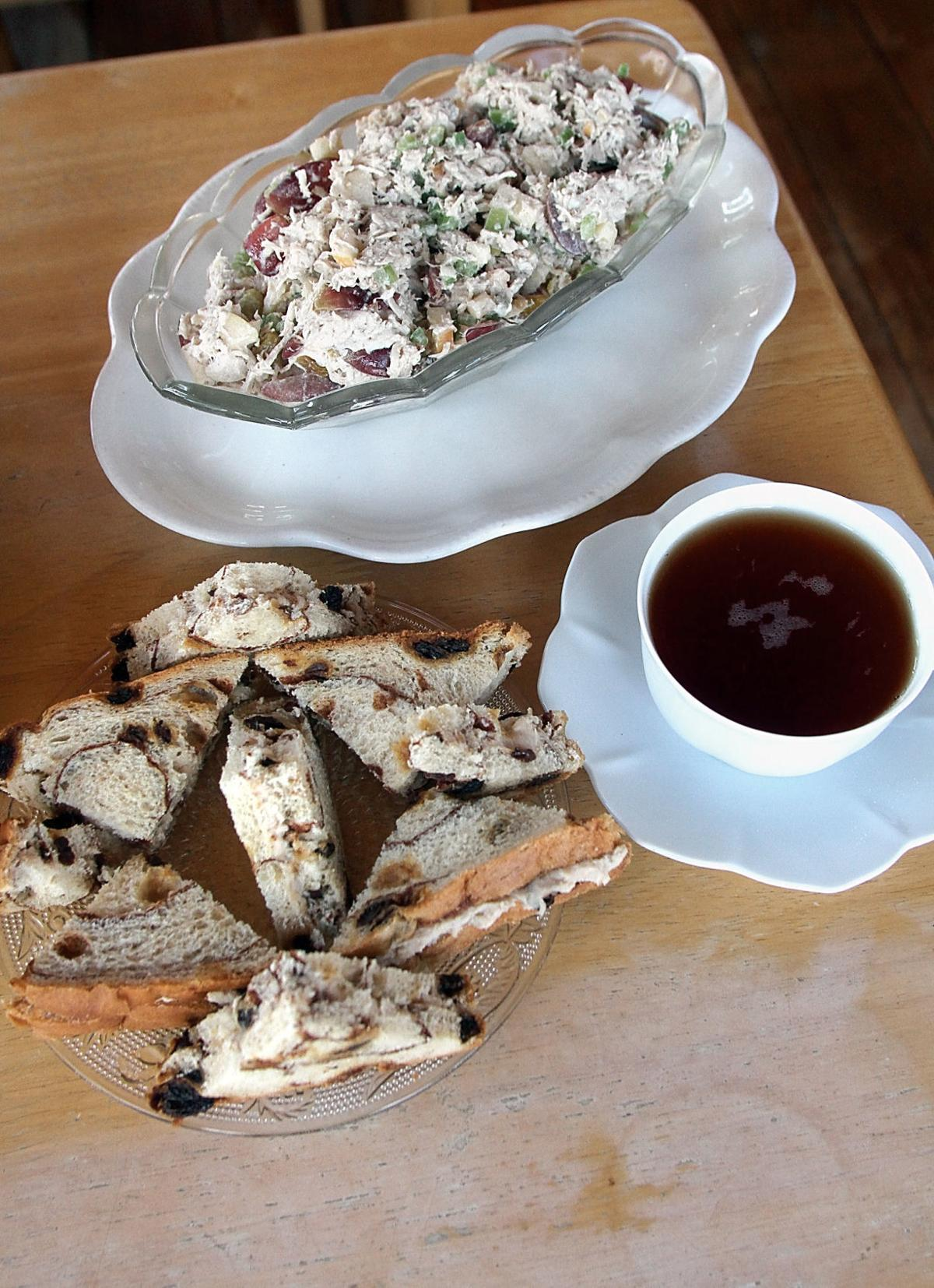 Waldorf style chicken salad and cinnamon tea sandwiches