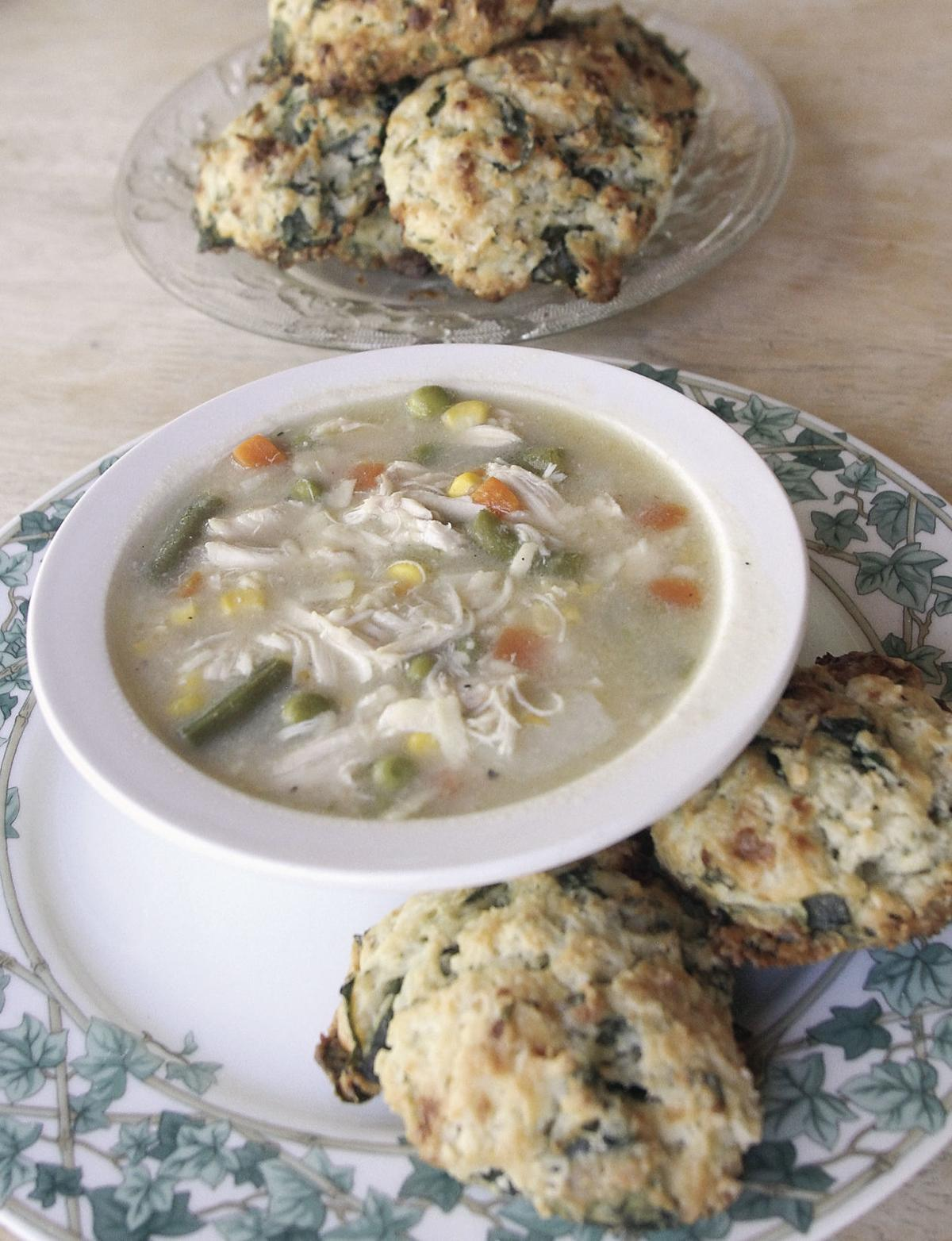 Savory scones and chicken vegetable soup