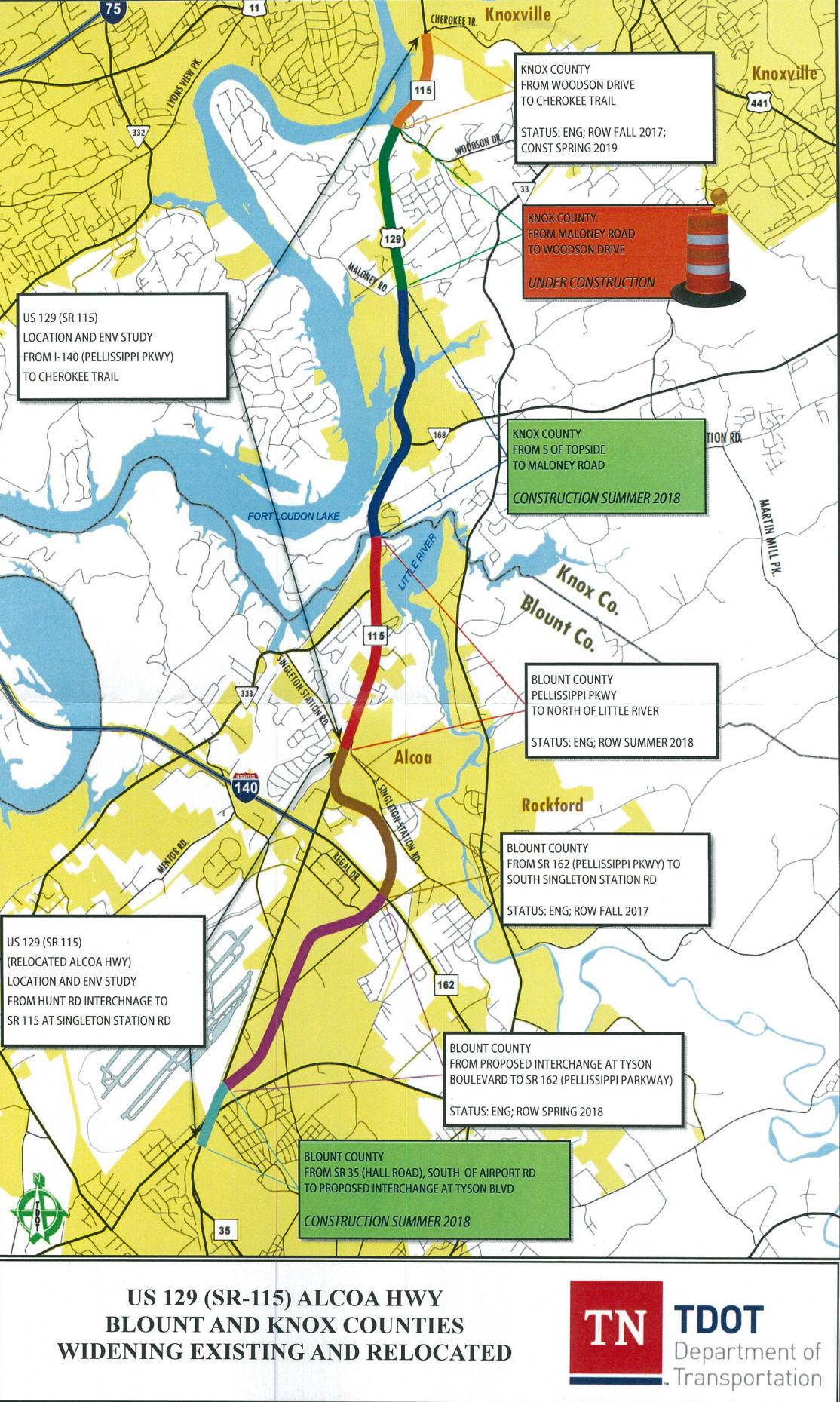 Alcoa Highway TDOT Project Map | | thedailytimes com
