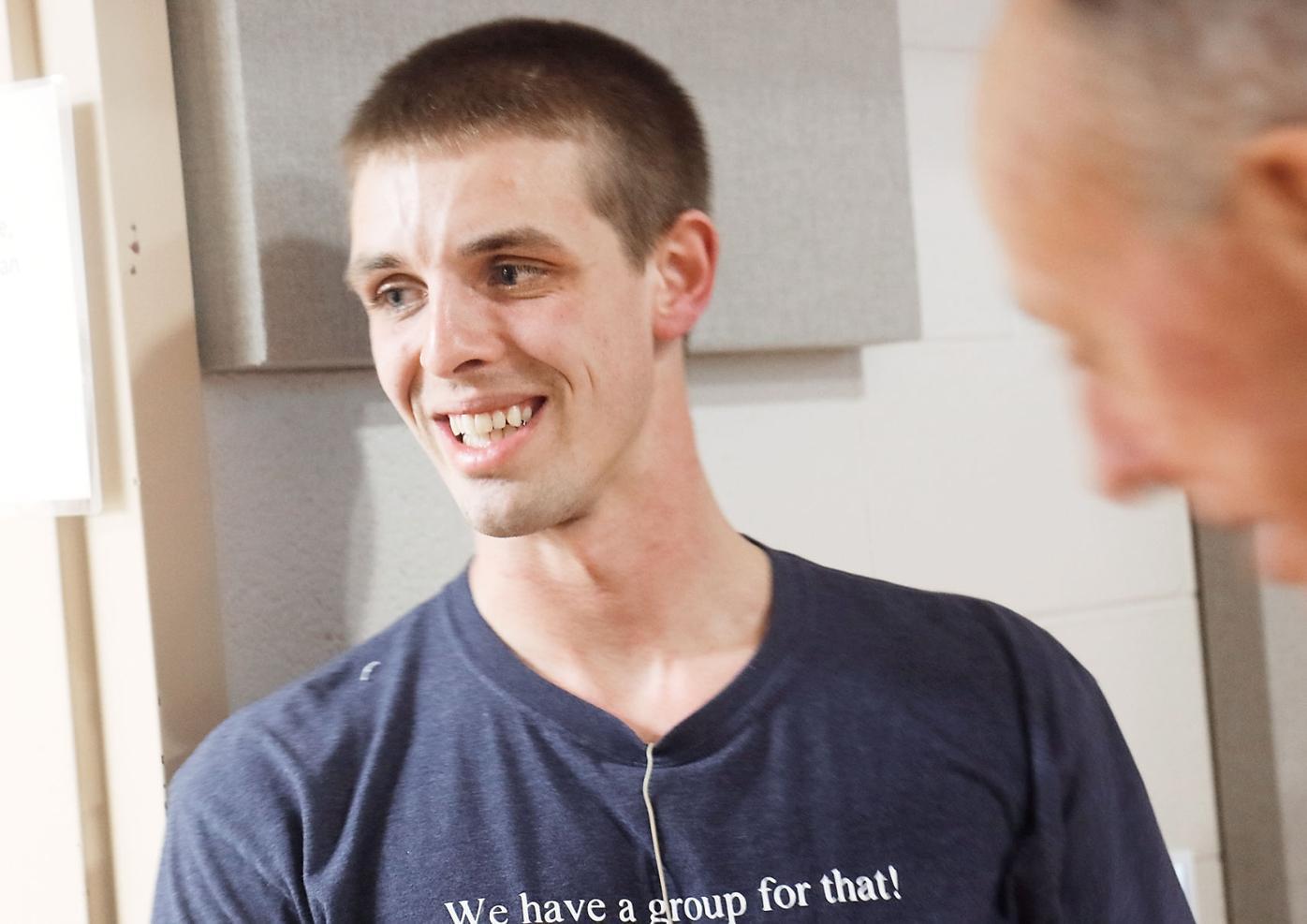 Matt Hall Greets Service Attendees