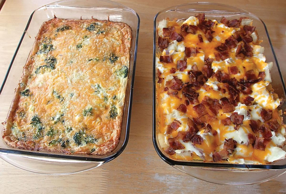Vegetable pie and twice baked potato casserole