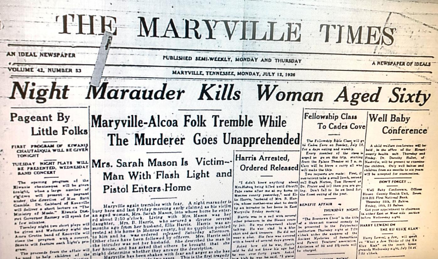 The Maryville Times article in 1926 about the 'Night Marauder'