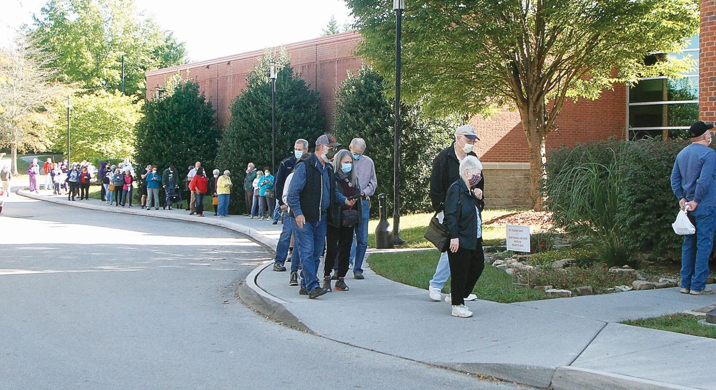 Voters lined up around to the back of the Blount County Library