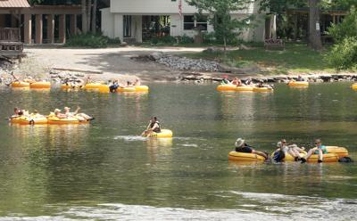 Tubers float down the Little River in Townsend