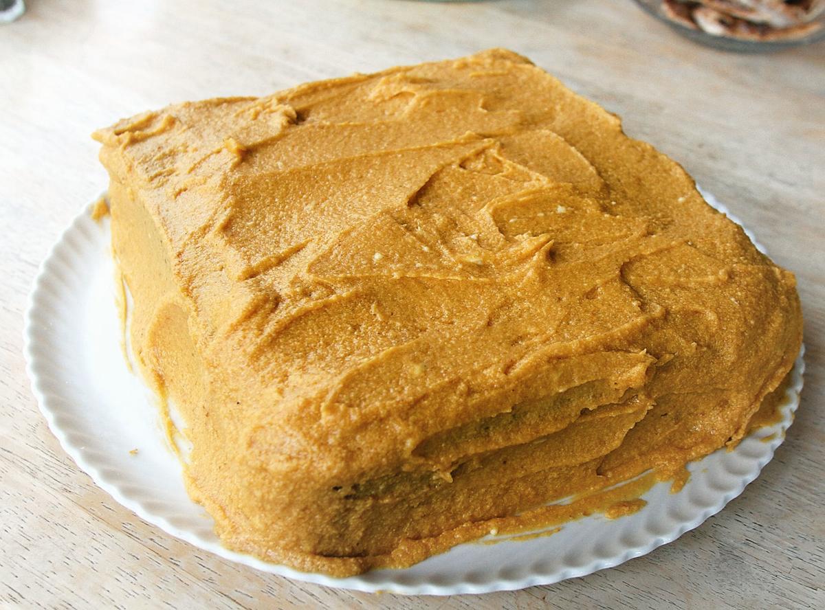 Pumpkin spice cake with pumpkin icing