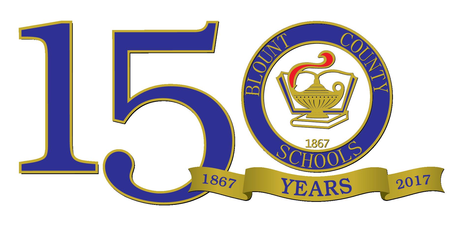 Blount County Schools 150th anniversary logo