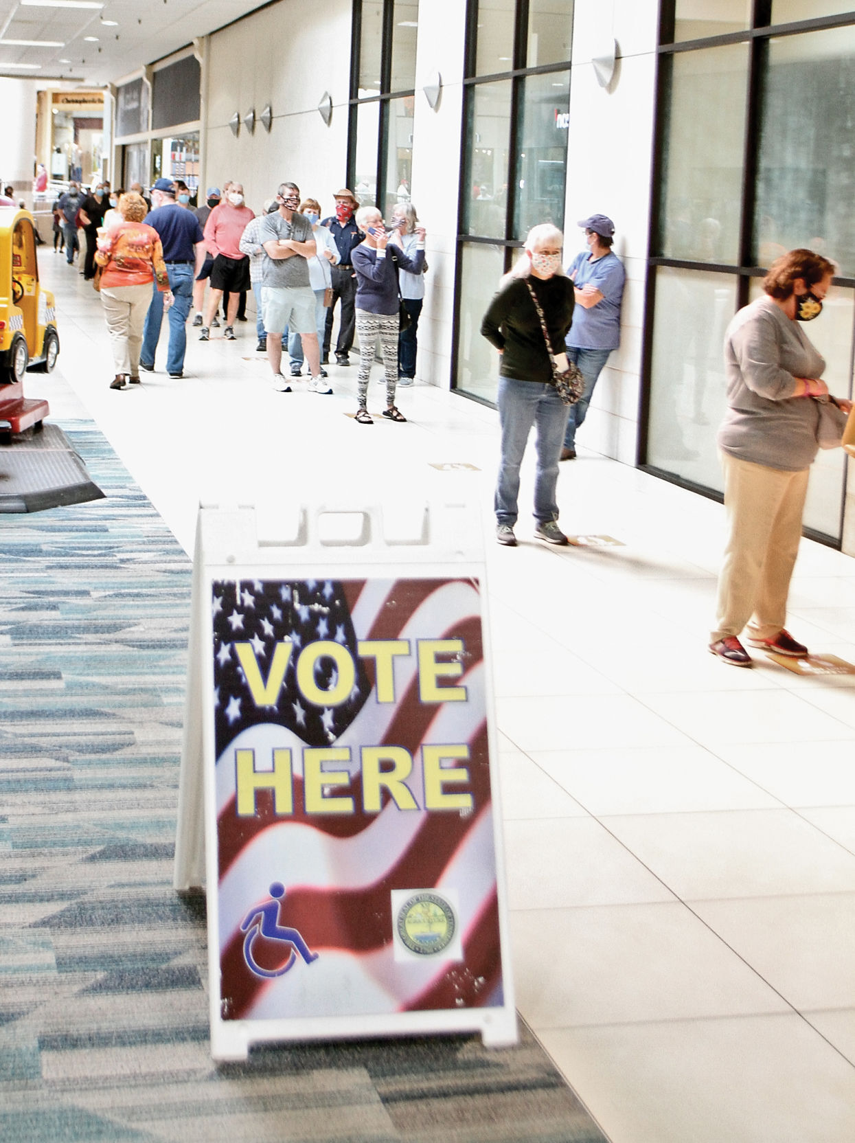 Voters wait in line in Foothills Mall