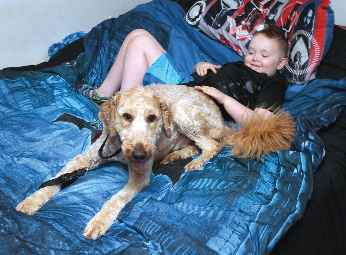 Blake Pass sits on the bed with his new service dog Tony