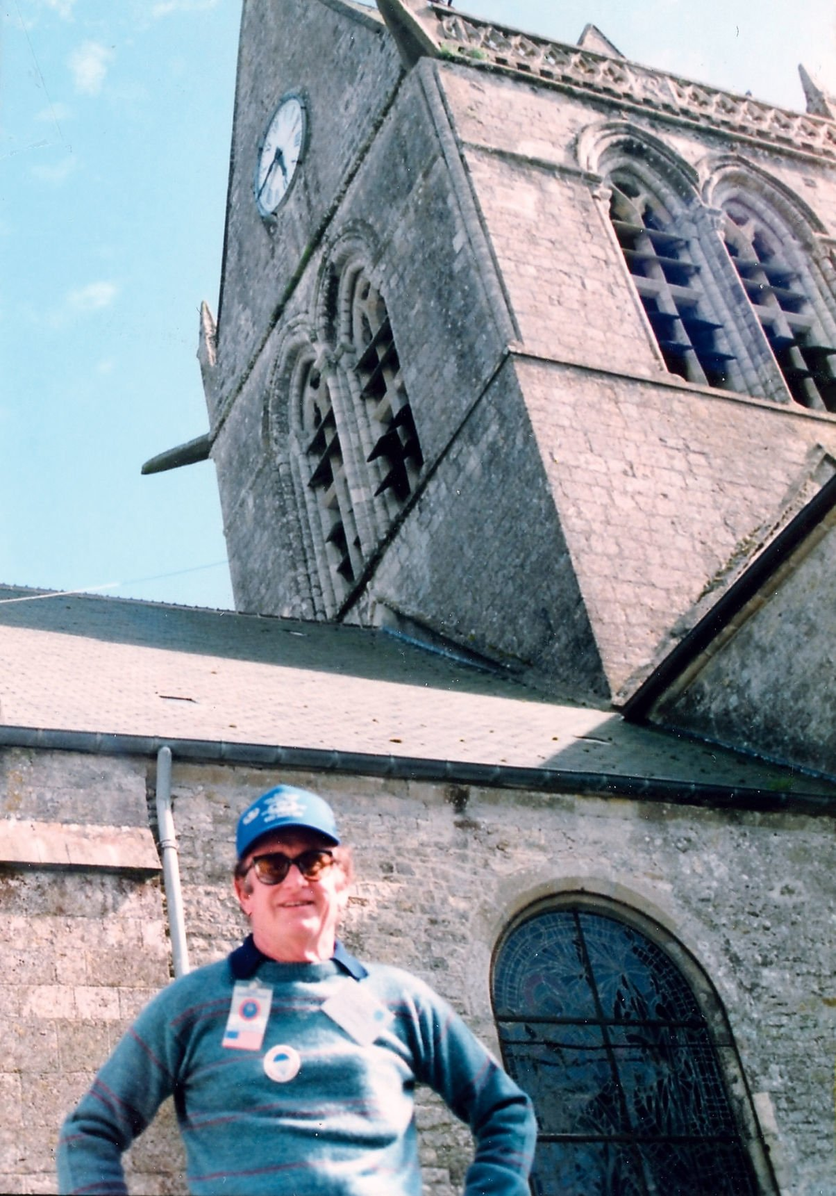 Ken Russell at 500 year old church where he landed on June 6, 1944