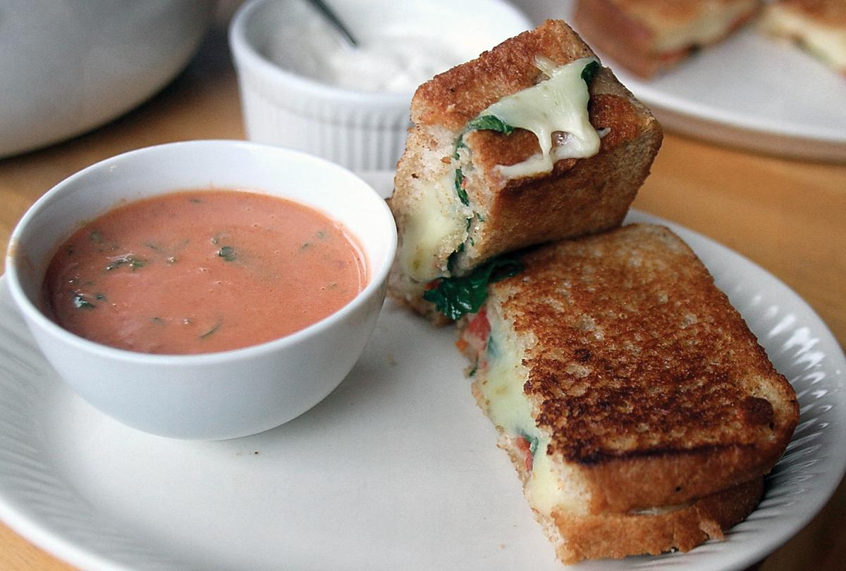 Pepper Jack with spinach on whole wheat bread with tomato basil soup