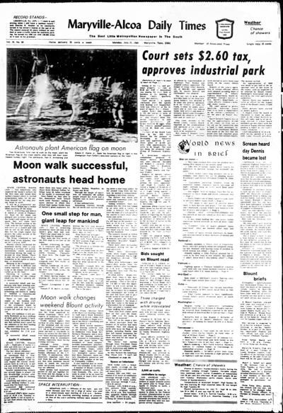 Monday, July 21, 1969, front page