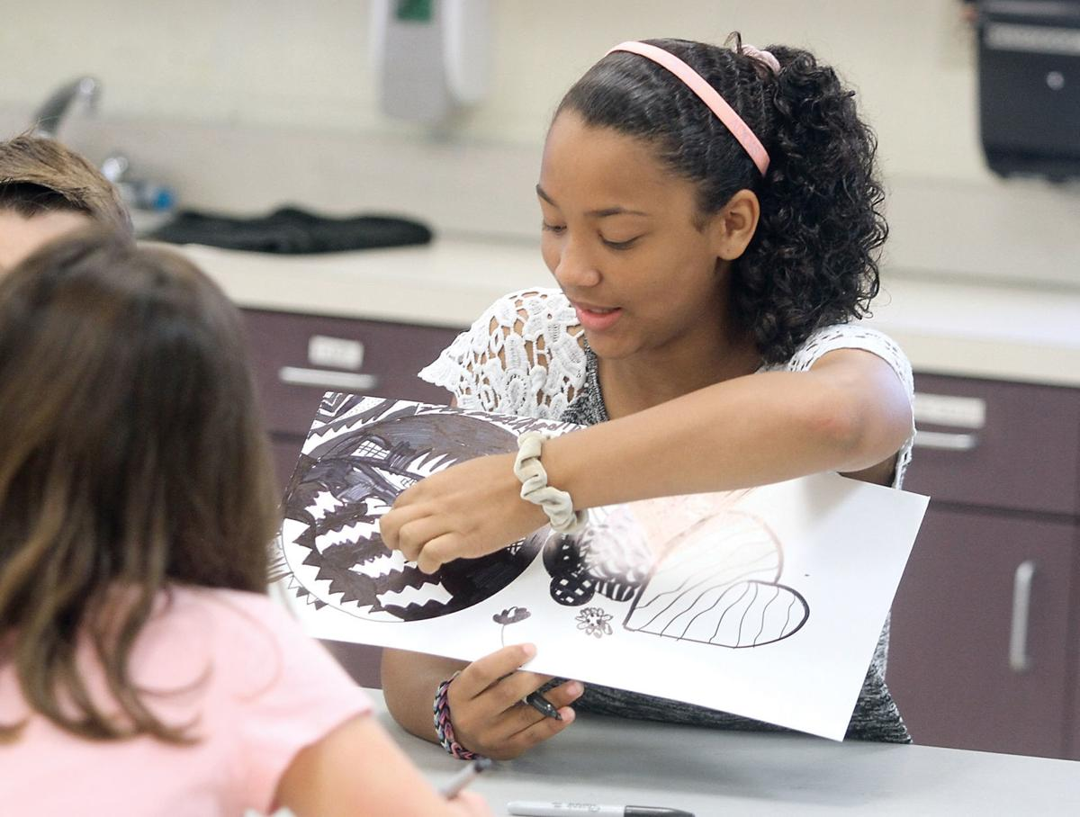 Audriana Orozco shows her Zentangle artwork