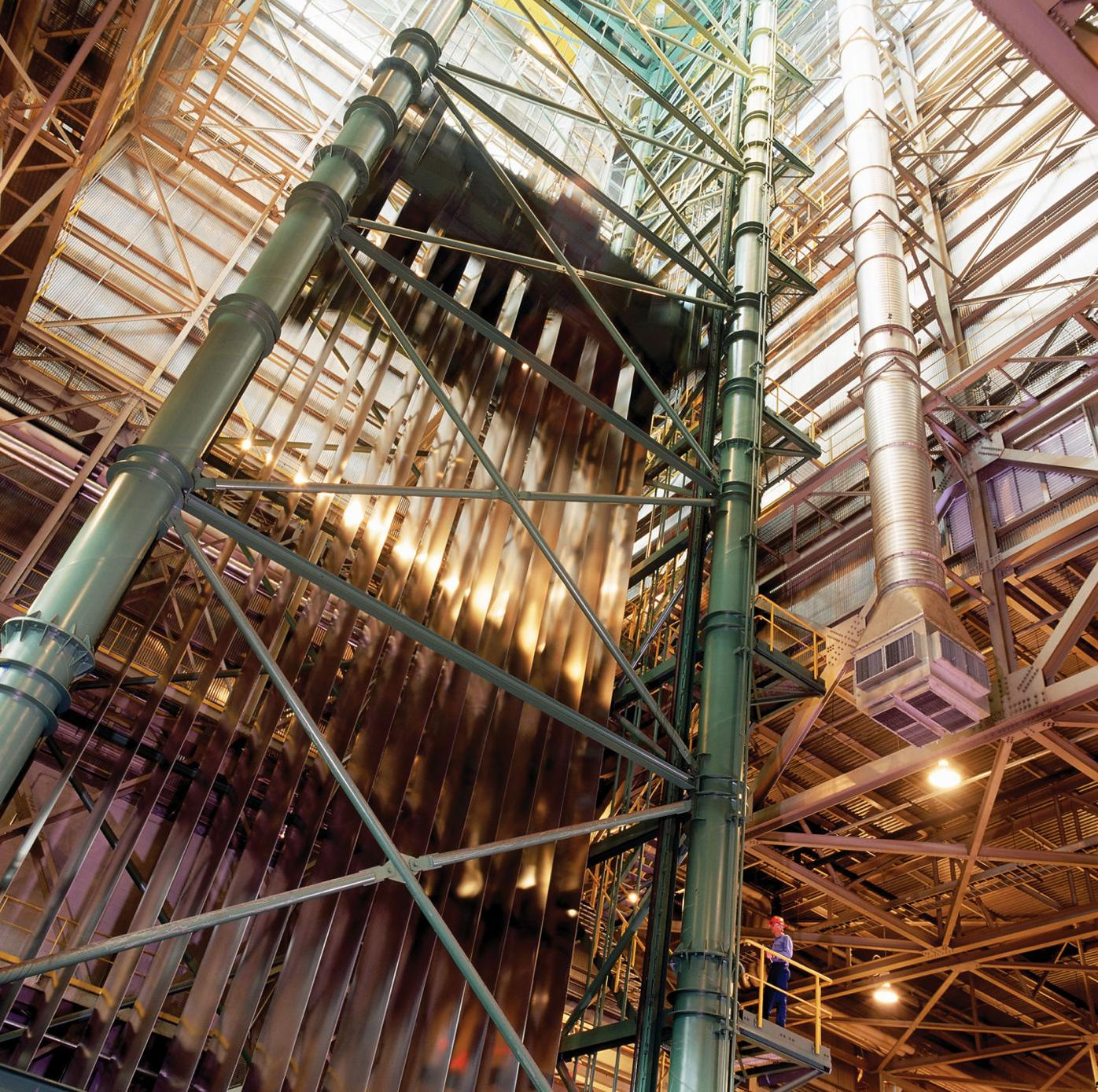 Interior of the Continuous Cold Mill accumulator tower
