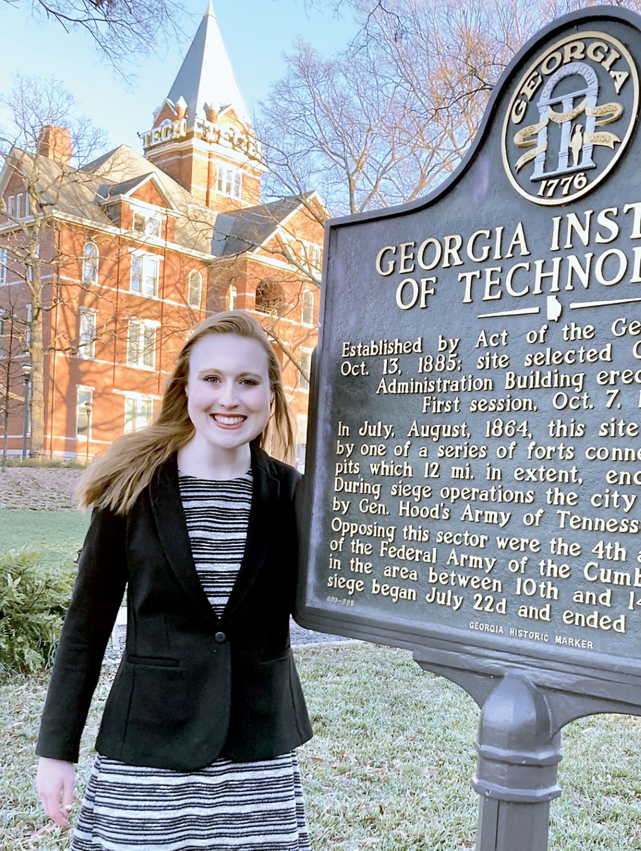 Lily Turaski in front of Tech Tower