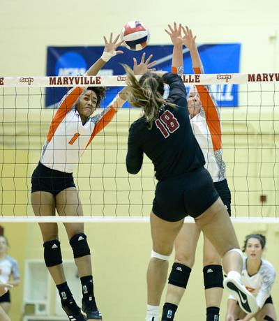 VOLLEYBALL: Maryville College's Dejane Hester-Taylor and Maggie Mathews vs Transylvania